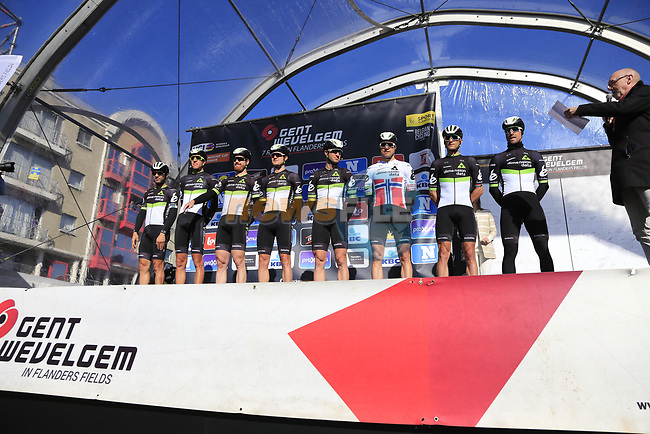 Team Dimension Data on stage at sign on before the start of Gent-Wevelgem in Flanders Fields 2017, running 249km from Denieze to Wevelgem, Flanders, Belgium. 26th March 2017.<br /> Picture: Eoin Clarke | Cyclefile<br /> <br /> <br /> All photos usage must carry mandatory copyright credit (&copy; Cyclefile | Eoin Clarke)