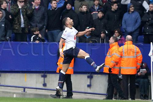 27.02.2016. Macron Stadium, Bolton, England. Skybet Championship. Bolton versus Burnley.<br /> Liam Feeney of Bolton Wanderers celebrates his opening goal