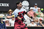 11th January 2018, Sydney Olympic Park Tennis Centre, Sydney, Australia; Sydney International Tennis,quarter final; Fabio Fognini (ITA) hits a volley in his match against Adrian Mannarino (ITA)