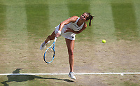 Julia Goerges (GER) during her defeat by Serena Williams (USA) in their Ladies' Semi-Final match<br /> <br /> Photographer Rob Newell/CameraSport<br /> <br /> Wimbledon Lawn Tennis Championships - Day 10 - Thursday 12th July 2018 -  All England Lawn Tennis and Croquet Club - Wimbledon - London - England<br /> <br /> World Copyright &copy; 2017 CameraSport. All rights reserved. 43 Linden Ave. Countesthorpe. Leicester. England. LE8 5PG - Tel: +44 (0) 116 277 4147 - admin@camerasport.com - www.camerasport.com