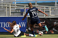 Cary, North Carolina  - Saturday July 01, 2017: Erica Skroski knocks the ball away from Jessica McDonald during a regular season National Women's Soccer League (NWSL) match between the North Carolina Courage and the Sky Blue FC at Sahlen's Stadium at WakeMed Soccer Park. Sky Blue FC won the game 1-0.
