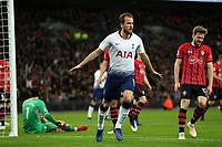 Harry Kane of Tottenham Hotspur celebrates scoring the first goal during Tottenham Hotspur vs Southampton, Premier League Football at Wembley Stadium on 5th December 2018