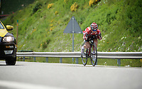 Jurgen Roelandts (BEL/Lotto-Soudal) descending at high speed (with a warmer jersey between his teeth) from the highest point in the 2016 Tour; the Port d'Envalira (Cat1/2408m/22.6km at 5.5%)<br /> <br /> stage 10: Escaldes-Engordany (AND) - Revel (FR)<br /> 103rd Tour de France 2016