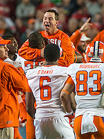 January 4, 2014 - Miami Gardens, Florida, U.S: Clemson Tigers head coach Dabo Swinney celebrates after second half action of the Discover Orange Bowl between the Clemson Tigers and the Ohio State Buckeyes. Clemson defeated Ohio State 40-35 at Sun Life Stadium in Miami Gardens, Fl