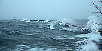 A December winter storm moving over Lake Superior. Presque Isle Breakwater, Marquette, MI