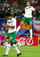 Jose Fonseca (17) celebrates his goal for Mexico. Portugal defeated Mexico 2-1 in their FIFA World Cup Group D match at FIFA World Cup Stadium, Gelsenkirchen, Germany, June 21, 2006.