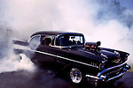1957,chevy, super charged, burning rubber, black, smoke,