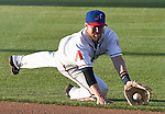 Reno Aces second basemen Taylor Harbin makes the diving stop during their game agianst the Las Vegas 51s on Monday night July 2, 2012 at Aces Ballpark in Reno, NV.