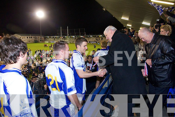 Castleisland Desmonds players celebrate their victory over Ballymun Kickhams at the Celebrity Bainisteoir final at Parnell park on Friday night.
