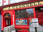 O'Connell traditional pub barrels outside, city of Dublin, Ireland, Irish Republic