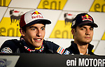 Press conference on the Sachenring circuit of the riders Marc Marquez and Dani Pedrosa prior to grand prize. Germany. 10/07/2014. Samuel de Roman / Photocall3000.