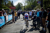 Anastasia Iakovenko (RUS) is the last rider up the infamous Mur de Huy (1300m/9.8%) in the first passage of the women's peloton<br /> <br /> Fl&egrave;che Wallonne F&eacute;minine 2015