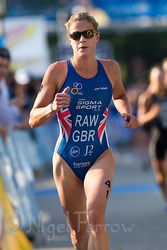 26 MAY 2012 - MADRID, ESP - Vanessa Raw (GBR) of Great Britain  during the run at the elite women's 2012 World Triathlon Series round in Casa de Campo, Madrid, Spain .(PHOTO (C) 2012 NIGEL FARROW)