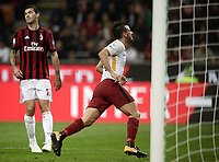 Calcio, Serie A: Milano, stadio Giuseppe Meazza (San Siro), 1 ottobre 2017.<br /> Alessandro Florenzi celebrates after scoring during the Italian Serie A football match between Milan and AS Roma at Milan's Giuseppe Meazza (San Siro) stadium, October 1, 2017.<br /> UPDATE IMAGES PRESS/Isabella Bonotto