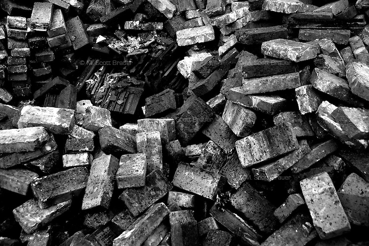 Salvaged bricks lay in a pile at a construction site where houses once stood in Nanjing, Jiangsu, China.