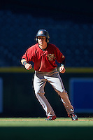 Arizona Diamondbacks Mark Karaviotis (18) during an Instructional League game against the Oakland Athletics on October 15, 2016 at Chase Field in Phoenix, Arizona.  (Mike Janes/Four Seam Images)