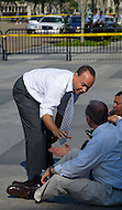 "July 26, 2011 (Washington, DC)  Congressman Luis Gutierrez (D-Ill) and 10 other people were arrested in front of the White House in Washington, protesting the lack of immigration reform in the United States.  According to CASA de Maryland, which co-sponsored the protest, more than one million deportations have occurred since President Obama took office. In a statement released by his office, Gutierrez said, ""the President says Republicans are blocking immigration reform and he's right, but it doesn't get [Obama] off the hook"".    (Photo: Don Baxter/Media Images International)"