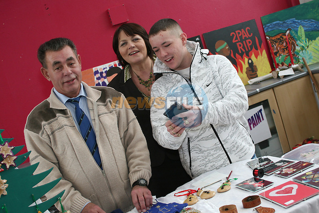 Youthreach Co-ordinator, Noella Manley with Michael Riley and Glen Keenan at the Drogheda Youthreach Craft Fair and Coffee Morning in aid of St Vincent De Paul and the Order of Malta....Photo NEWSFILE/Jenny Matthews.(Photo credit should read Jenny Matthews/NEWSFILE)....This Picture has been sent you under the condtions enclosed by:.Newsfile Ltd..The Studio,.Millmount Abbey,.Drogheda,.Co Meath..Ireland..Tel: +353(0)41-9871240.Fax: +353(0)41-9871260.GSM: +353(0)86-2500958.email: pictures@newsfile.ie.www.newsfile.ie.FTP: 193.120.102.198.