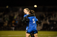 Seattle, WA - Thursday, March, 08, 2018: Beverly Yanez and Kiersten Dallstream during a preseason match between the Seattle Reign FC and University of Washington at Husky Soccer Stadium.