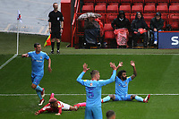 Luke Thomas of Coventry tackles Charlton's Lyle Taylor and all eyes are on referee Ben Toner and he awards Charlton a penalty during Charlton Athletic vs Coventry City, Sky Bet EFL League 1 Football at The Valley on 6th October 2018