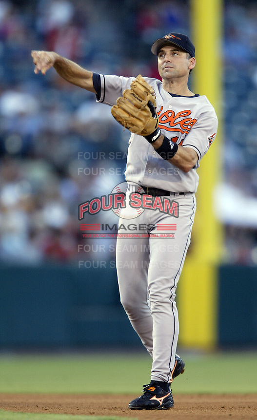 Mike Bordick of the Baltimore Orioles makes a throw during a 2002 MLB season game against the Los Angeles Angels at Angel Stadium, in Los Angeles, California. (Larry Goren/Four Seam Images)