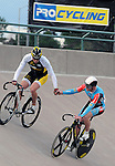 August 20, 2011: USA's London Project cyclist, Michael Blatchford shakes hands with Australia's Peter Lewis following their match sprint during the Men's Sprint Finals at the Winslow BMW U.S. Grand Prix of Sprinting at the 7-Eleven Velodrome, Colorado Springs, CO... ...