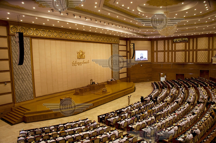 The lower house of parliament (the Pyithu Hluttaw). A quarter of the seats are reserved for the non-elected military and a large majority of the others are held by the military-backed ruling party.