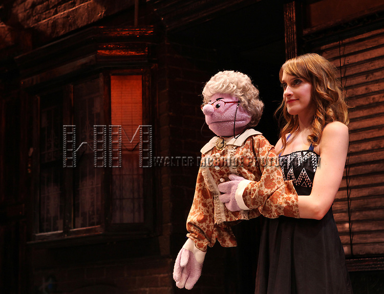 Lexy Fridell (Mrs. T) - The cast of 'Avenue Q' celebrating their 3rd Anniversary Off-Broadway and filming a PSA in support of the Public Broadcasting System at The World Stages on 10/22/2012 in New York City.