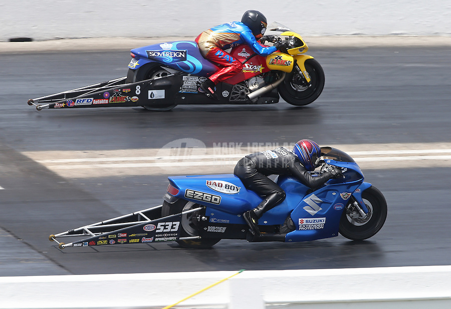 Apr. 28, 2013; Baytown, TX, USA: NHRA pro stock motorcycle rider Jim Underdahl (near lane) races alongside Michael Ray Jr during the Spring Nationals at Royal Purple Raceway. Mandatory Credit: Mark J. Rebilas-