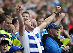 A Huddersfield fan gets behind his side during the Championship Play-Off Final match at Wembley Stadium, London. Picture date: May 29th, 2017. Pic credit should read: David Klein/Sportimage