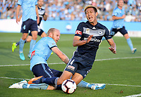 Sydney, November 25, 2018 - Keisuke Honda of the Melbourne Victory is fouled and receives a penalty during the Melbourne Victory and Sydney FC round 5 match at Jubilee Oval in Sydney, Australia.