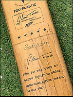 BNPS.co.uk (01202 558833)<br /> Pic JohnGoodwin/BNPS<br /> <br /> Kiwi Glenn Turner's Fearnley bat that got him 1000 runs before the end of May in 1973.<br /> <br /> Legendary bat maker is selling up his historic collection of willow wonders.<br /> <br /> A collection of cricket bats that were used by some of finest players of all-time have been put up for sale by the man who crafted them with his own hands.<br /> <br /> Duncan Fearnley, 79, is best known for producing bats for legendary England all-rounder Ian Botham throughout his illustrious career.<br /> <br /> He also created hand-made blades for the likes of Viv Richards, Clive Lloyd and Indian hero Sunil Gavaskar, all featuring his famous 'three stump' logo.<br /> <br /> At the end of a season the bats were often donated back to him by generous players and he has now decided to part with a number of them.