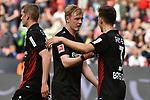 14.04.2018, BayArena, Leverkusen , GER, 1.FBL., Bayer 04 Leverkusen vs. Eintracht Frankfurt<br /> im Bild / picture shows: <br /> freuen sich &uuml;ber den Sieg Julian Brandt (Leverkusen #10), <br /> Panagiotis Retsos (Leverkusen #3),  <br /> <br /> <br /> Foto &copy; nordphoto / Meuter
