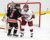 Leah Sulyma (NU - 1), Kelly Wallace (NU - 5), Randi Griffin (Harvard - 23) - The Harvard University Crimson defeated the Northeastern University Huskies 1-0 to win the 2010 Beanpot on Tuesday, February 9, 2010, at the Bright Hockey Center in Cambridge, Massachusetts.