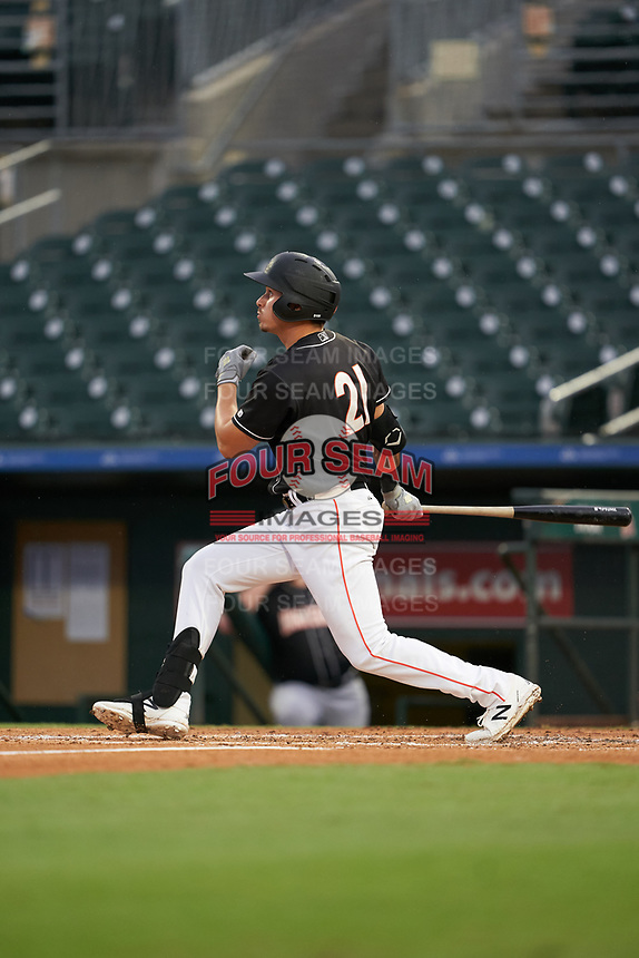 Jupiter Hammerheads JJ Bleday hits a home run during a Florida State League game against the Lakeland Flying Tigers on August 12, 2019 at Roger Dean Chevrolet Stadium in Jupiter, Florida.  Jupiter defeated Lakeland 9-3.  (Mike Janes/Four Seam Images)