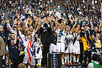 01 December 2012: Los Angeles captain Landon Donovan holds the Philip F. Anschutz Trophy overhead as the team celebrates. The Los Angeles Galaxy played the Houston Dynamo at the Home Depot Center in Carson, California in MLS Cup 2012. Los Angeles won the game 3-1.
