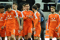 Oliver Lee of Luton Town embraces brother Elliot Lee of Luton Town after the final whistle during Newcastle United vs Luton Town, Emirates FA Cup Football at St. James' Park on 6th January 2018