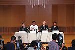 (L to R) <br />  Tomoki Waragai, <br /> Kotaro Kiyomiya (), <br />  Minoru Izumi, <br />  Takayuki Kunisada, <br /> SEPTEMBER 22, 2017 - Baseball :<br /> Kotaro Kiyomiya of Waseda Jitsugyo attends <br /> a press conference in Tokyo, Japan. <br /> He announced that he aims to pursue a career <br /> in Nippon Professional Baseball instead of college education. (Photo by YUTAKA/AFLO)