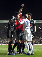 Leeds United's Ezgjan&nbsp;Alioski is shown a yellow card by Referee Michael Dean after he went down in the penalty area under the challenge from Reading's Tiago Ilori <br /> <br /> Photographer Rich Linley/CameraSport<br /> <br /> The EFL Sky Bet Championship - Leeds United v Reading - Tuesday 27th November 2018 - Elland Road - Leeds<br /> <br /> World Copyright &copy; 2018 CameraSport. All rights reserved. 43 Linden Ave. Countesthorpe. Leicester. England. LE8 5PG - Tel: +44 (0) 116 277 4147 - admin@camerasport.com - www.camerasport.com