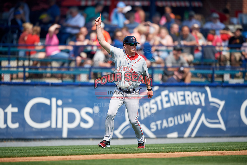 Portland Sea Dogs manager Darren Fenster (23) gestures to a base runner the first game of a doubleheader against the Reading Fightin Phils on May 15, 2018 at FirstEnergy Stadium in Reading, Pennsylvania.  Portland defeated Reading 8-4.  (Mike Janes/Four Seam Images)