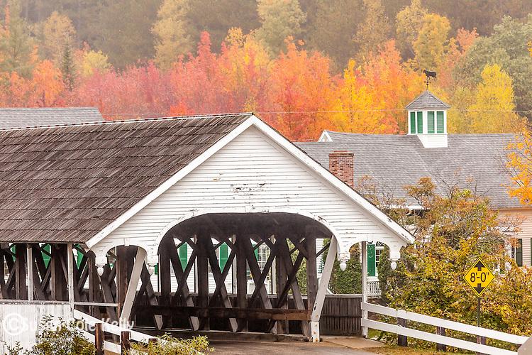 The Stark covered bridge in fall in Stark, New Hampshire, USA