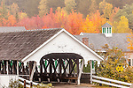 The Stark covered bridge in fall in Stark, New Hampshire, USA