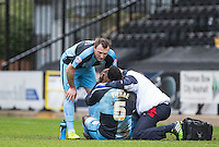 Aaron Pierre of Wycombe Wanderers shows Garry Thompson of Wycombe Wanderers where his head hurts during the Sky Bet League 2 match between Notts County and Wycombe Wanderers at Meadow Lane, Nottingham, England on 28 March 2016. Photo by Andy Rowland.