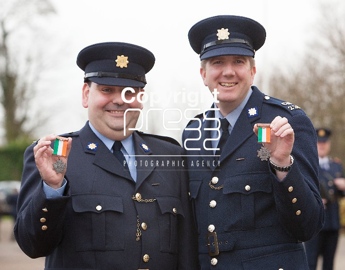 Garda Brian Dromey from Ratoath Co.Meath & Garda Killian Barry fro Youghal Co.Cork after he received his Scott Medal for Bravery at Templemore Garda College. Pictured Credit Brian Gavin Press 22