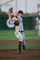Matt Krook (46) of the San Jose Giants pitches against the Lancaster JetHawks at The Hanger on April 10, 2017 in Lancaster, California. Lancaster defeated San Jose 11-7. (Larry Goren/Four Seam Images)