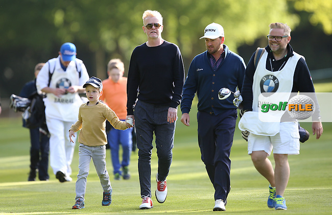 Graeme McDOWELL (NIR) is joined by Radio and TV host presenter Chris Evans during the Pro-Am ahead of the 2015 BMW PGA Championship over the West Course at Wentworth, Virginia Water, London. Picture David lloyd, www.golffile.ie: 20/05/2015