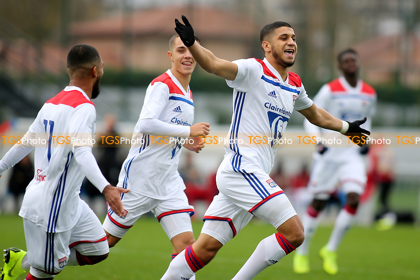 Hamza Rafia celebrates scoring Olympique Lyonnais opening goal during Lyon Under-19 vs Manchester City Under-19, UEFA Youth League Football at Groupama OL Academy on 27th November 2018
