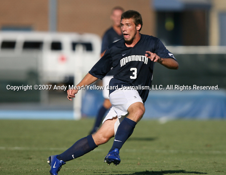 2 September 2007: Monmouth's Rich Baker. The Wake Forest University Demon Deacons defeated the Monmouth University Hawks 2-0 at Fetzer Field in Chapel Hill, North Carolina in an NCAA Division I Men's Soccer game.