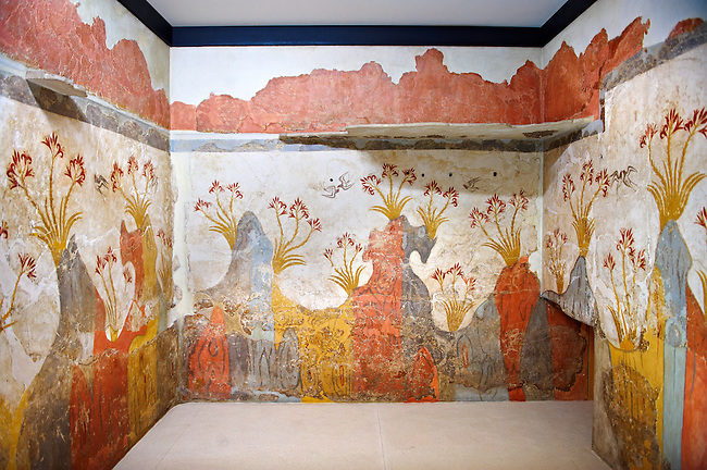 """Minoan Fresco wall painting of """" Spring """"  from Minoan Bronze Age settlement  of Akrotiri on the Greek island of Thira, Santorini, Greece.  Athens Archaeological Museum."""