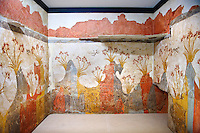 "Minoan Fresco wall painting of "" Spring ""  from Minoan Bronze Age settlement  of Akrotiri on the Greek island of Thira, Santorini, Greece.  Athens Archaeological Museum."